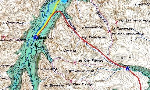 Схема маршрута по Хибинам