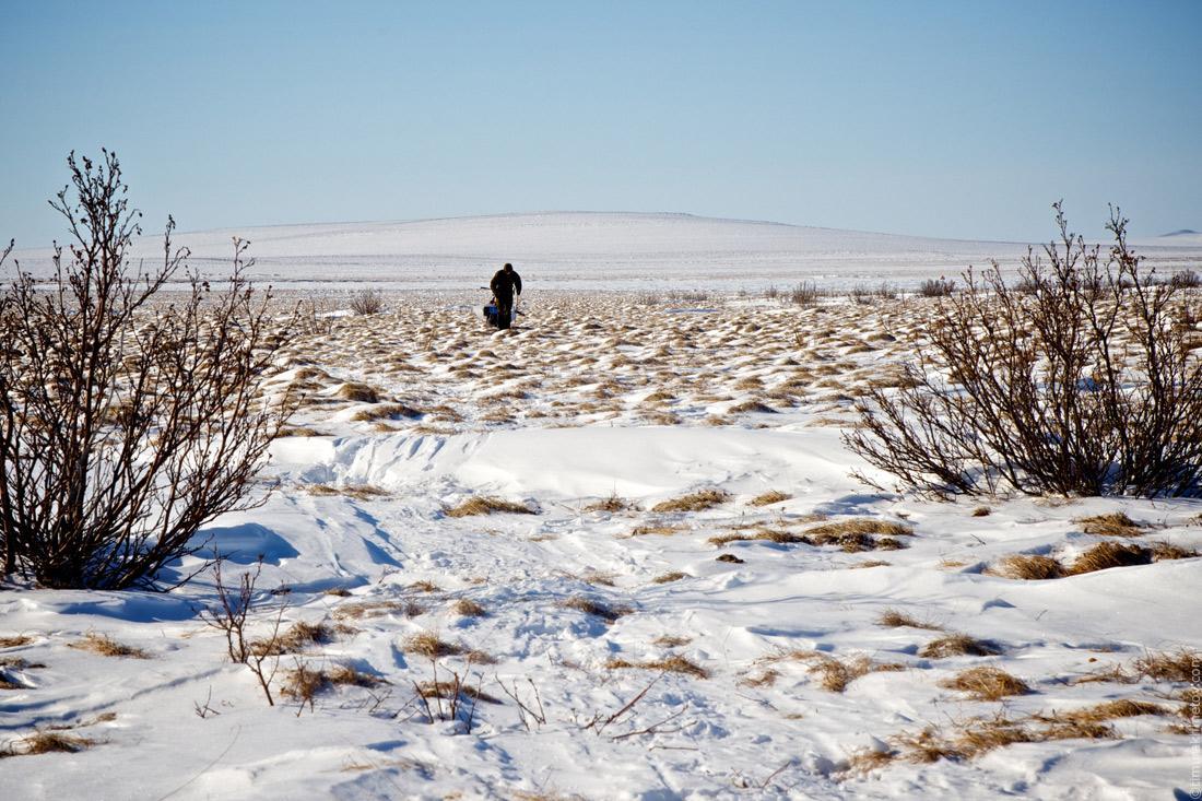 На таких участках лыжный поход превращался в пеший.