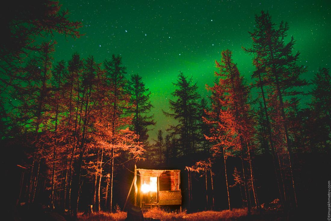 Северное сияние и охотничий домик