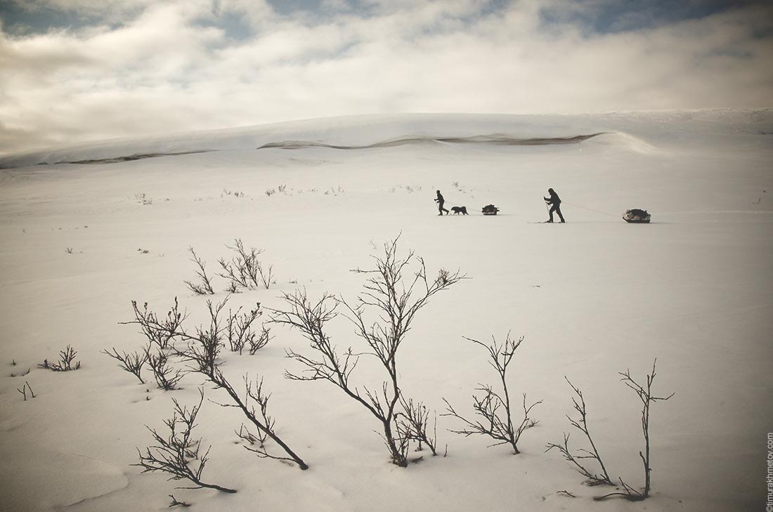 Лыжный поход с волокушей