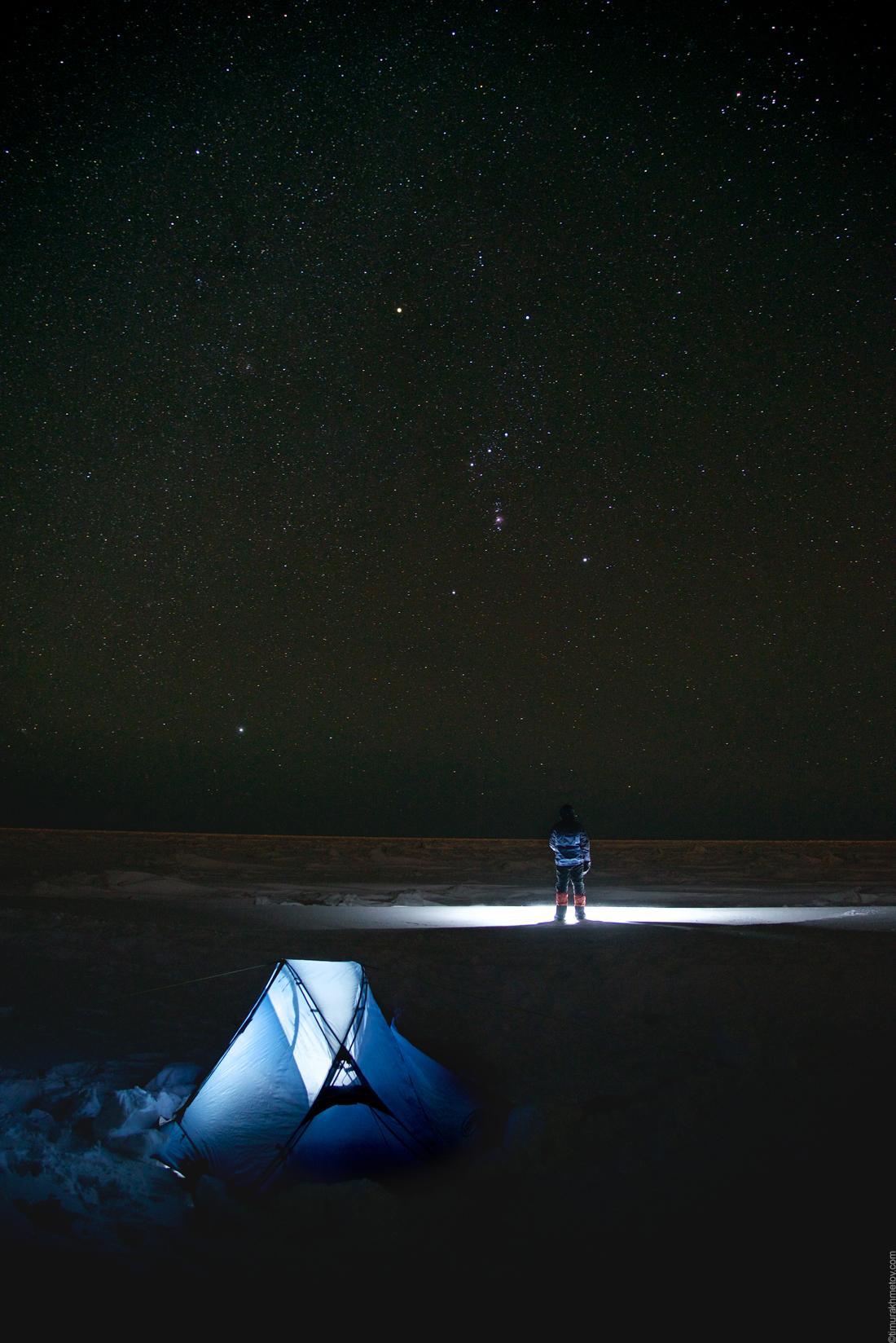 Лагерь на льду под созвездием Ориона