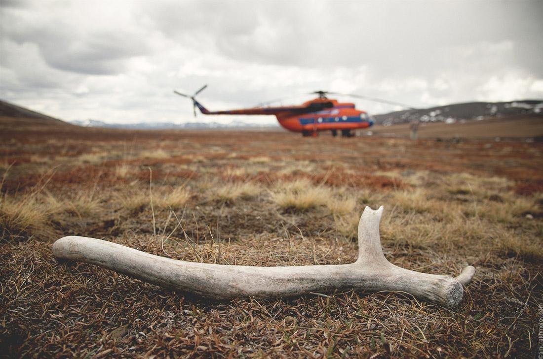 Чукотка, вертолёт МИ-8 в тундре