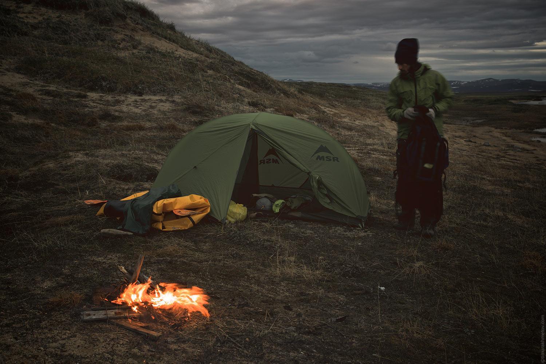 Лагерь на реке Кооленвеем